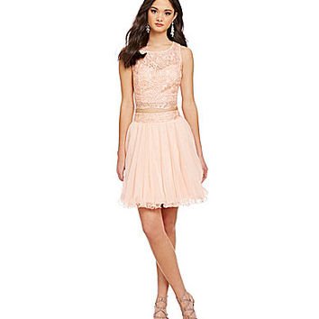 As U Wish 2-Piece Lace Top & Skirt - Peach