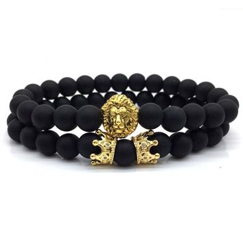 2pcs/set New fashion Bead Bracelet Set Lion Crown Couple charm with Lava Bracelets Lovers' wristband Jewelry Bijoux