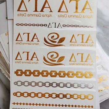 Gold Tattoo Alpha Gamma Delta, Gold Metallic Tattoos, Sorority Gift Ideas, Temporary Tattoos, Metallic Tattoos