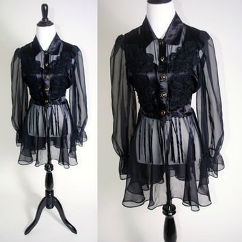 Vintage 1990s Black Satin embroidered button down SHEER long sleeve Babydoll MINI Dress Duster with tie back