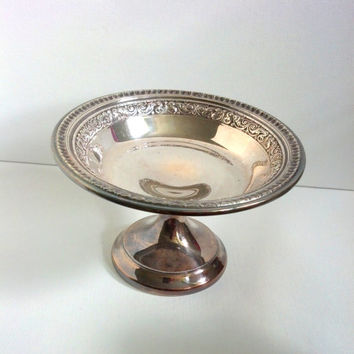 Silver Pedestal Dish Compote Candy Dish Wedding Decor Shabby Cottage French Reed Barton Numbered
