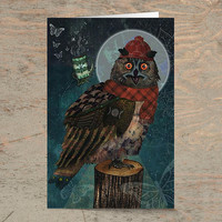 Bubo Bubo - Greeting Card /// Blank Card, Any Occasion, Birthday Card, Owl Card, Animal Card, Funny Card, Art Cards, Whimsical, Seasonal