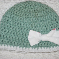 Sage Green Baby Hat with White Bow- Baby shower, new baby, Baby's first winter Sea Foam Green Upcycled