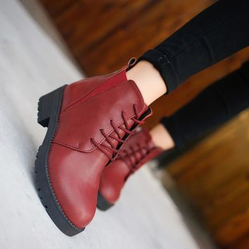 British Style Round Toe Lace Up Side Zipper Short Martin Boots