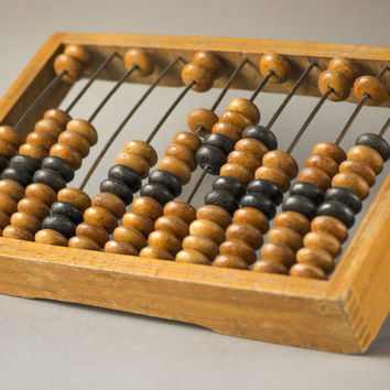 Vintage wooden abacus big wooden calculator rust yellow shades abacus from Soviet food store