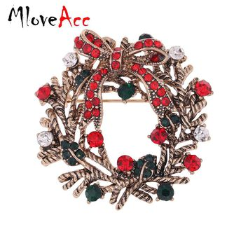 MloveAcc Flower Christmas Brooches Red Green Rhinestones High-end Christmas Gift Wreath Garland Brooch Nice Happy New Year Gifts