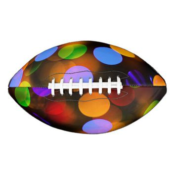 Multicolored Christmas lights. Football