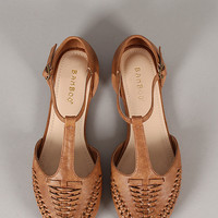 Bamboo Lynna-47 Ankle Strap Woven Round Toe Flat