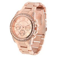Merona® Round Case,Rose Gold Bracelet Watch with Stones