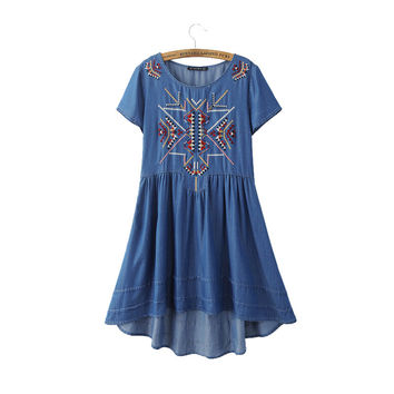women vintage geometric embroidery tencel dress European style summer casual asymmetrical denim dresses vestidos QZ2498