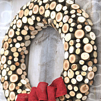 "Wood Wreath, Winter Wreath, Western Decor, Rustic Decor, Cabin Decor, Burlap Ribbon, 18"" Rustic Natural Wisconsin Wood -MADE TO ORDER"