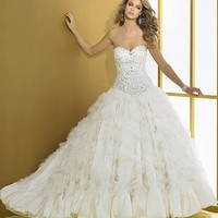 Ball Gown Sweetheart Floor Length Gown with Organza D8017 : $289.00 at VikiDress.com.
