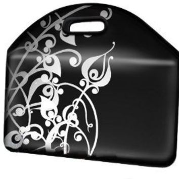 14 inch White Floral on Black Notebook Laptop Sleeve Bag Carry Case w/Handles for most of MacBook Acer ASUS Dell HP Sony Toshiba