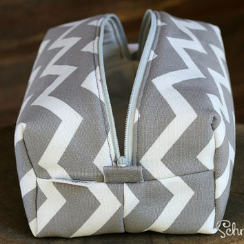 Large Chevron Makeup bag / Cosmetic bag / Pencil Case / Accessories Bag / Travel Pouch / Box Bag