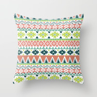 Aztec Stripe Throw Pillow by Janet Broxon