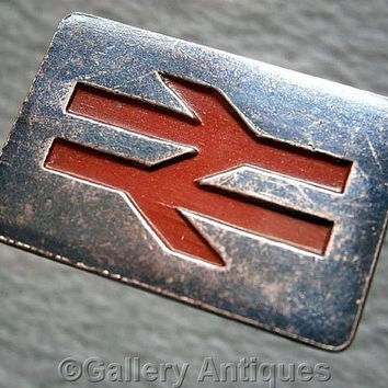 Vintage retro British Rail Brass or Copper and Red Enamel Lapel Badge with Rear Lugs / Fold Over Clips c.1970's railways trains (ref: 3206)