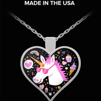 Cool Unicorn in sunglasses - heart pendant necklace - great gift