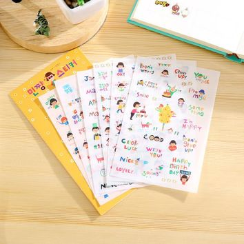 6Sheets/Pack Korean Cute Happy Girl DIY Cartoon Scrapbook Paper Diary Stickers Decoration Stationery Label Sticker E0158