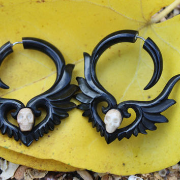 Black Winged with white bone skull, Organic ,Black Horn, Split Gauge, Sprial  Earrings, Fancy ,Tribal style,hand made,organic,naturally