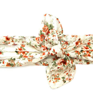 Lacy Floral Hairwrap Dolly Bow Bandana Headband Head Wrap Hair Accessory Teen Hair Accessory Cream Coral Green Holiday Gift Ready To Ship