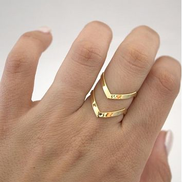 SMJEL New Fashion Boho Double Lines V Chevron Rings For Women's Gift Simple Geometric Bague Dainty Rings Femme Jewelry R248
