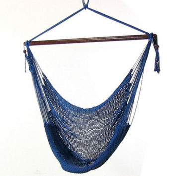 Caribbean Extra Large Blue Hanging Hammock Swing Chair Indoor or Outdoor Use