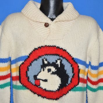 70s Husky Rainbow Stripe Hand Knit Wool Sweater Medium