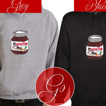 I Love Nutella Hoodie Sweatshirt Sweater Shirt black and white Unisex