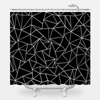 Ab Outlines Black Shower Curtain