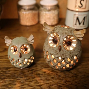 HANDMADE CERAMIC EUROPE STYLE OWL CANDLE HOLDER