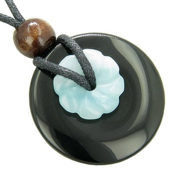 Amulet Spiritual Black Agate Amazonite Pendant Necklace