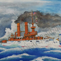 Nautical Watercolor Art Print USS IOWA
