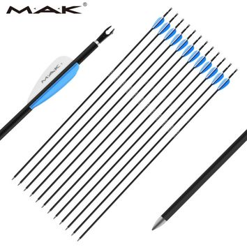 12 pc MAK 28 30 31 32 inches Spine 1000 with OD 6.0 Pure Carbon Arrows for Archery Practice Hunting