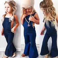 Boutique Toddler Kids Girls Denim Strap Bib Pants Romper Jumpsuit Outfit Clothes