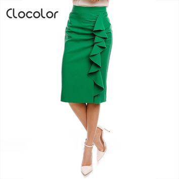 Clocolor Women Skirt 2017 Spring Green Falbala Solid Pencil Female Girls Fashion Bodycon Plain Autumn Skirt women Skirt
