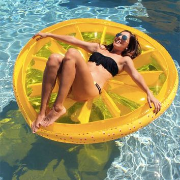 Adult Pool Beach Inflatable  Raft  Floating Mattress Lemon Float PVC Air Mattress 160x20CM