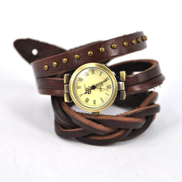Vintage Twist Braid Winding Rome Leather Wrap Watch