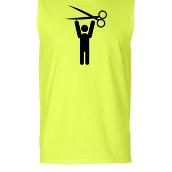 hairstylist man happy with scissors held above his head - Sleeveless T-shirt