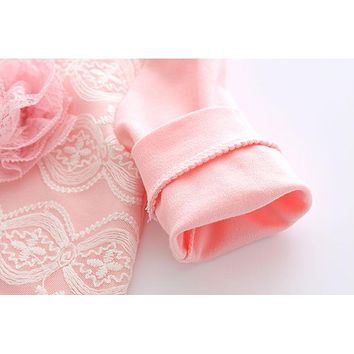 Newest Princess Newborn Baby Girl Romper Lace Cotton Long Sleeve Infant Jumpsuit + Headband Toddler Outfits