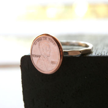 Lucky Copper Penny Ring, Sterling Silver Copper Penny Stack Band, Sterling Band Rings, Lucky Penny Ring