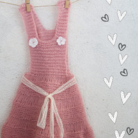 Dusty Pink Baby girl dress  hand knitted One Of A Kind 12 months Ready to ship