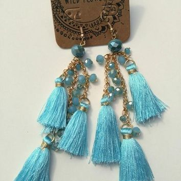 Thread Tassel Tiered Earrings - Light Blue