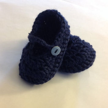 Handmade crochet baby girls shoes in Navy Blue or make your costume order with color and size