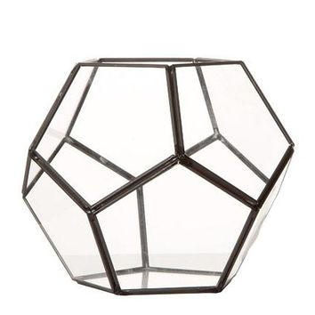 "Glass Geometric Pentagon Terrarium in Black - 5.75"" Tall x 7"" Wide"