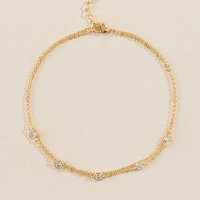 Aria Delicate Cubic Zirconia Anklet in Gold