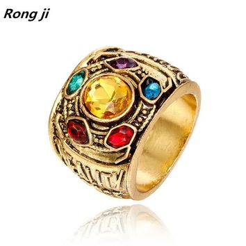 ping Marvel Avengers thanos Rings pendant men Infinity Gauntlet bague homme anillos mujer women crystal Jewelry