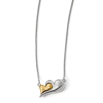 Sterling Silver 14k Gold Plated Magnetic Double Heart 22 Inch Necklace