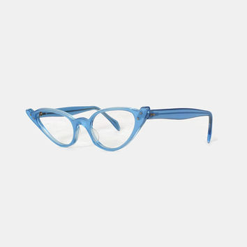 Vintage 60s Unworn Glasses FRAMES / 1960s Bright Sky Blue Cat-Eye CATEYE Eyeglasses