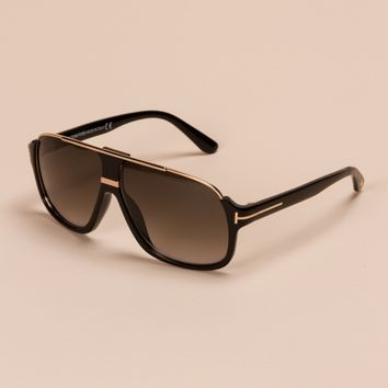 Elliot Square Sunglasses in Shiny Black by Tom Ford - ShopKitson.com