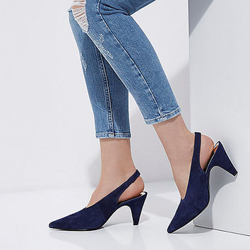 Navy suede slingback kitten heel shoes - Shoes - Shoes & Boots - women